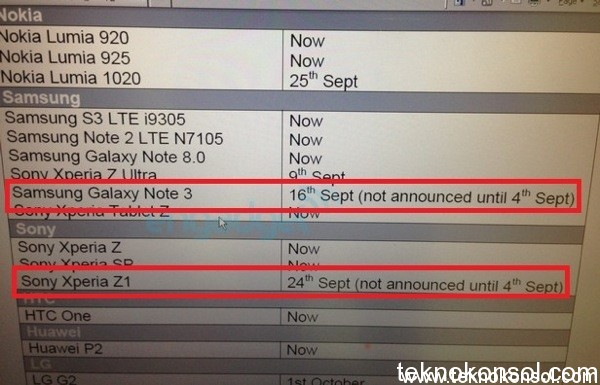 xperia z1 and galaxy note 3 release date