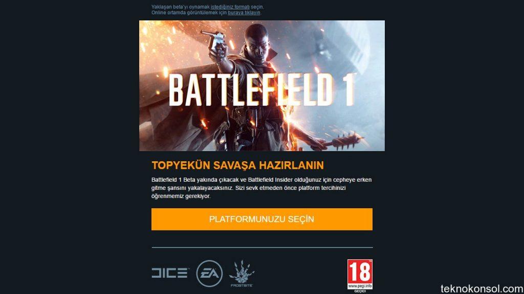 Battlefield 1 herkese açık beta