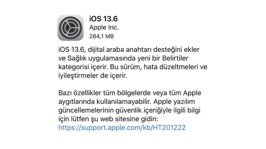 iOS 13.6 sistem güncellemesi