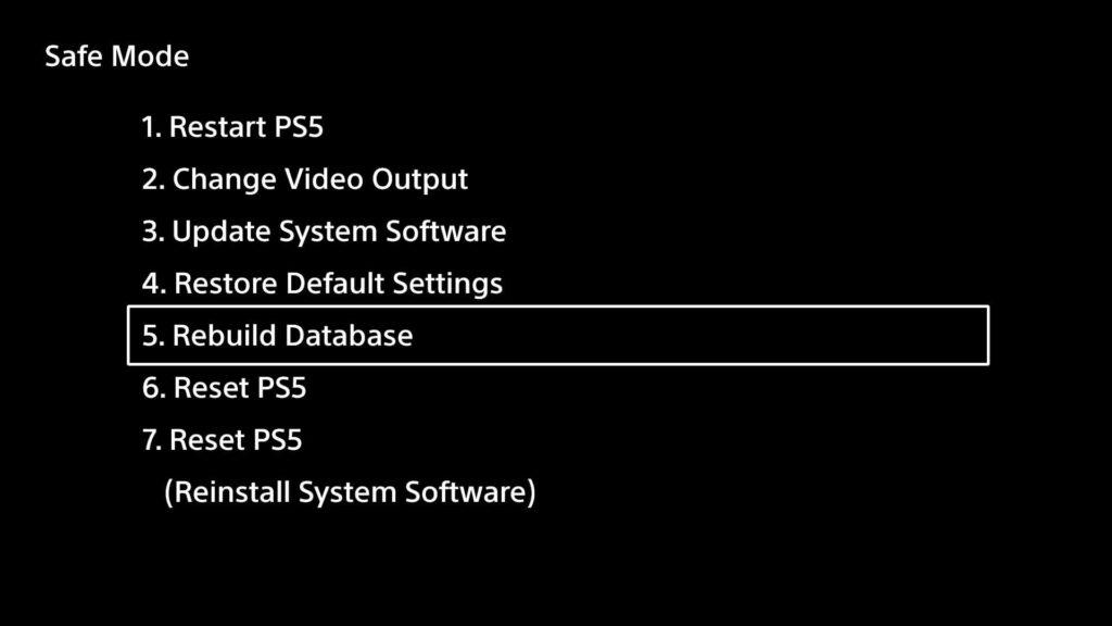 PlayStation 5 güvenli mod